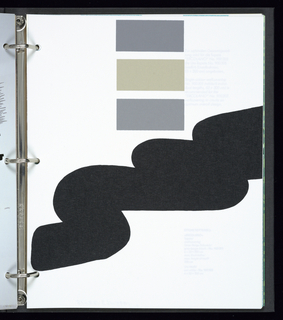 Sample book with black binding, featuring color-toned pictures of twelve designers on cover.