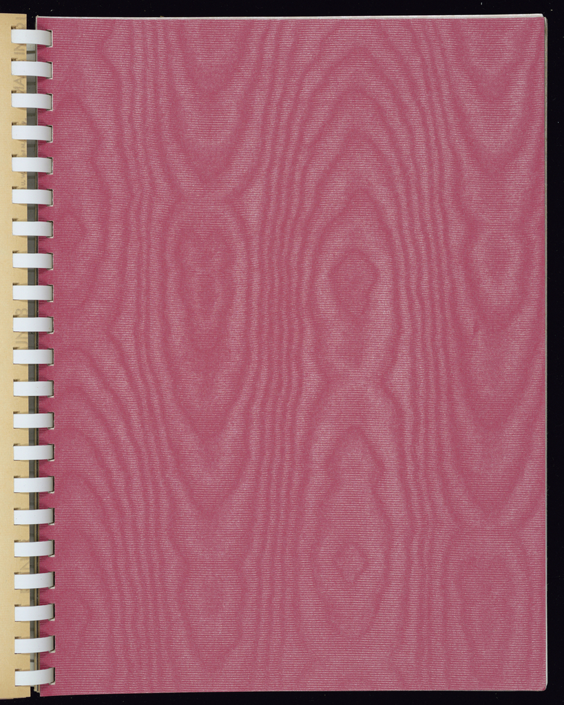 Patterns simulating silks, moires, brocatelles, each in multiple colorways. Also includes Italian marble and metallic papers.  Many samples of plain ground colors in the back of book.