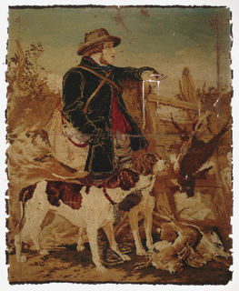 """""""Mosaic"""" carpet sample. Worsted threads glued on linen backing showing a game-keeper in a round-brimmed hat, leaning against a ladder over a hedge with a bag slung over his shoulder, a pile of game at his feet, two hounds beside him; after Richard Ansdell."""