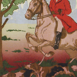 Frieze shows hunters in full course, with hound dogs, against a green landscape background with red foreground. Stamped on upper margin: Carey Bros. W.P. Mfg. Co. 1934. Intended for use in alteration with 1938-50-19.