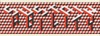 "Op-art pattern formed by splitting the word ""sustainability"" into two parts and stacking the letters to form cubes. Printed in red, black and white, the letter forms echo the optical background that shifts perspective."