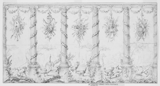 Colonnade of Ionic order with garlands of flowers twisted and festooned between the fluted columns. Suspended in the intercolumniations are trophies of garden implements and other attributes of agricultural life. On the ground, behind the colonnade appear dogs, peacocks, fowl, a fox in a trap and geese. Border in ink frames scene.-Based on text by R. Berliner