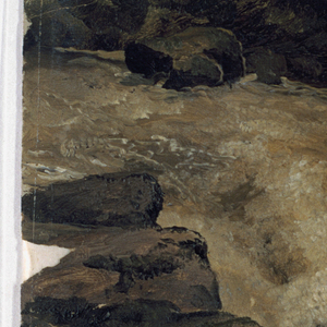 Horizontal view of the fall of a brook, shown obliquely in the direction from above left to bottom right with a prominent rocky at left, into in a lake which is bordered by rocks in the background.  A rainbow is shown below at right.