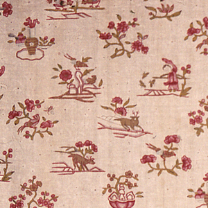 Polychrome of small motifs – animals, birds, butterflies, people and flowers – on a picotage ground.