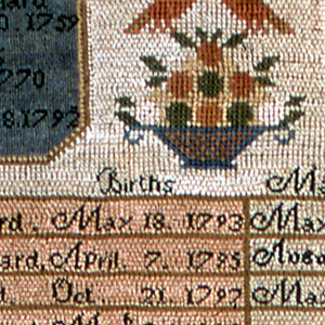 """Family Record giving the dates of birth, marriage and death of members of the Barnard family. At the top, two octagonal cartouches with blue grounds are separated by a basket of fruit and birds. The primary information is arranged in a table with columns of pink, white and tan. Two square cartouches at the bottom with blue grounds and a basket of fruit between, contain a verse:   Time flies a Pace In ceaseless race Man hurries to the tomb In bliss or woe Ere long to know His everlasting doom  Then let thy heart Who ere thou art To wisdoms way incline Use well this hour While in thy Power For the next may not be thine  With a strawberry vine border  and  inscription.   The death date for the second Abigail Barnard (daughter) has been written in with ink """"Oct. 2. 1885"""" Several of the dates are later than the date given in the signature."""