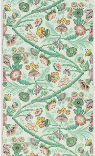 Roll of paper printed in a repeating design of flowers and foliage in the style of Pillement. Roll formed of joined sheets.