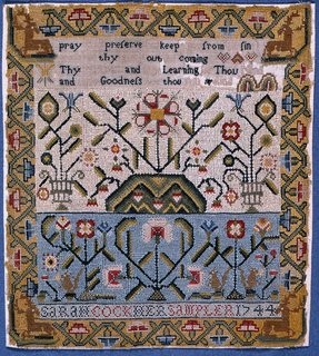 """Four cross borders; one containing verse; two showing floral patterns and squirrels; the inscription """"Sarah Cook, her sampler 1744"""" surrounded by angular floral border with stags in the corners."""