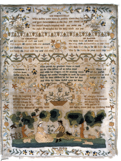 Several verses including one for Whitsunday, for Christmas, for Easter, a landscape with a shepherd and shepherdess and scattered ornament