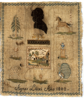 Within a chain border are detached motifs including the silhouette of a woman, tree, horse, urn, lamp, dog and peacock.