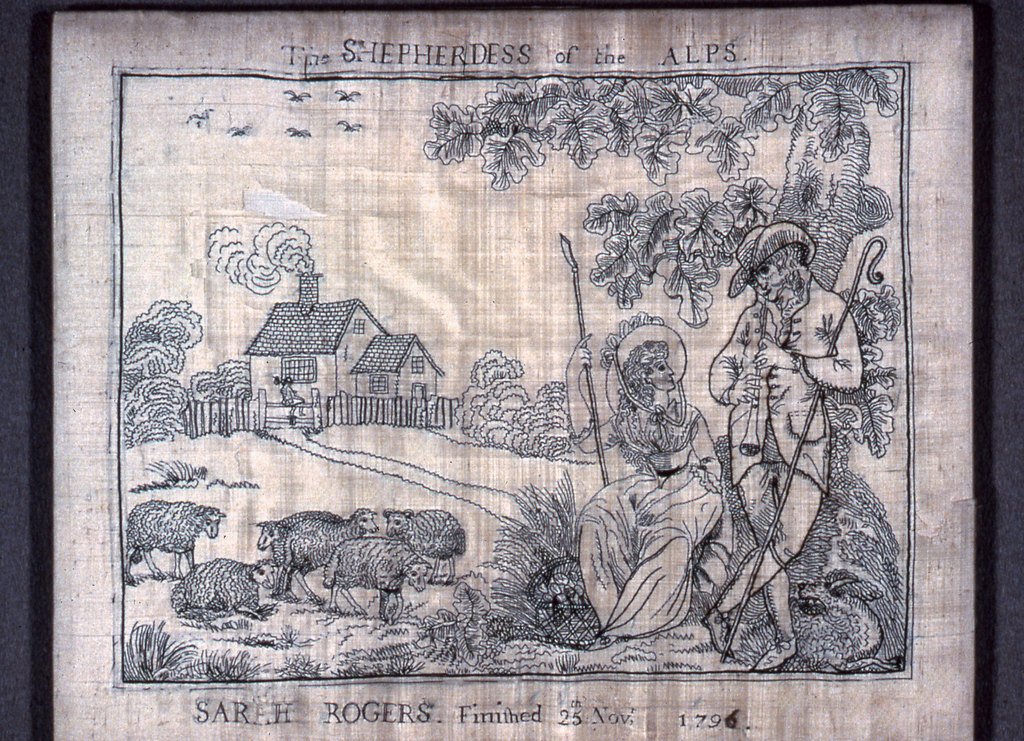 Man and woman under a tree with sheep nearby and house in the distance. In black silk on white.