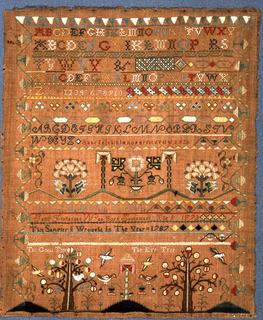 Embroidered sampler with bands of alphabets and numerals, floral and geometric borders, and an inscription.