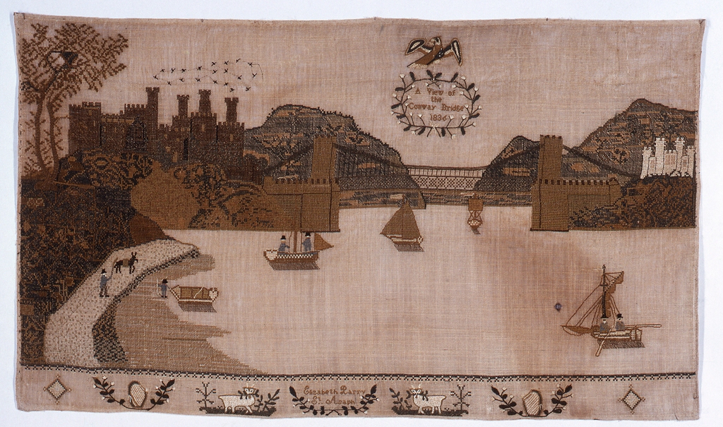 "Horizontal panel showing Bridge, five boats on river, several buildings on the shore; eagle in the sky with wreath ""A View of Conway Bridge 1836""; on the lower border are two harps, two sheep and ""Elizabeth Parry St. Asaph."""