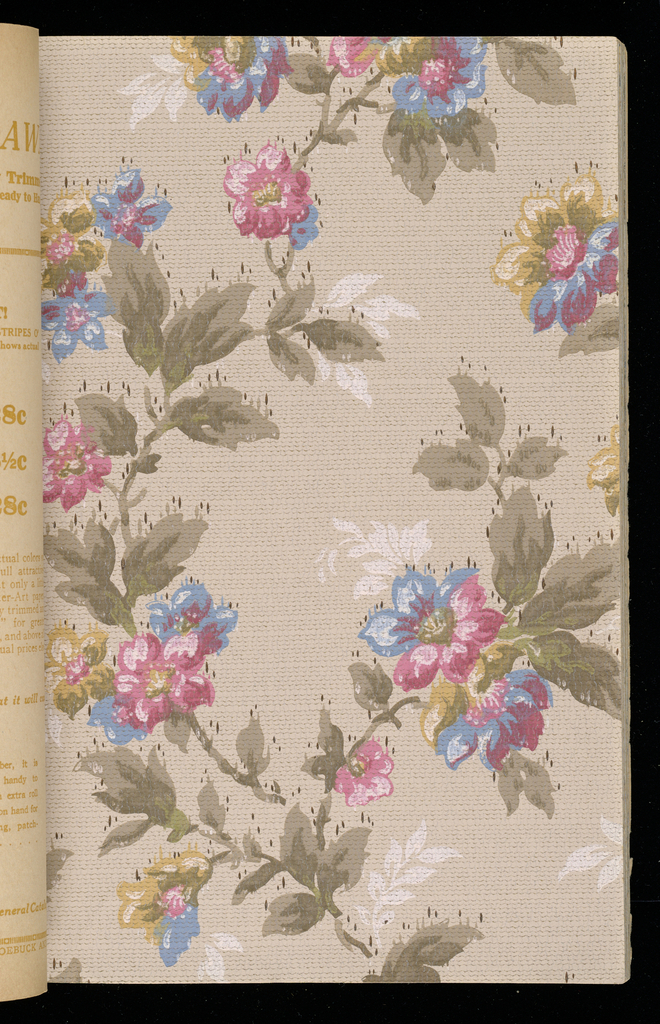 The sample book contains traditional designs, along with oatmeal papers, sanitary papers and ceiling papers.