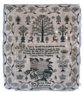 Verse, tree, stags, basket of flowers and detached motifs.