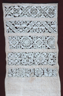 Five cross borders of cutwork in different patterns. Sampler is unfinished.