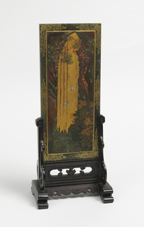 Carved and pierced stand supporting a vertical panel with gilt scrollwork at border.  At center, two birds fly in front of a gilded waterfall surrounded by plants. Reverse: Chinese characters.