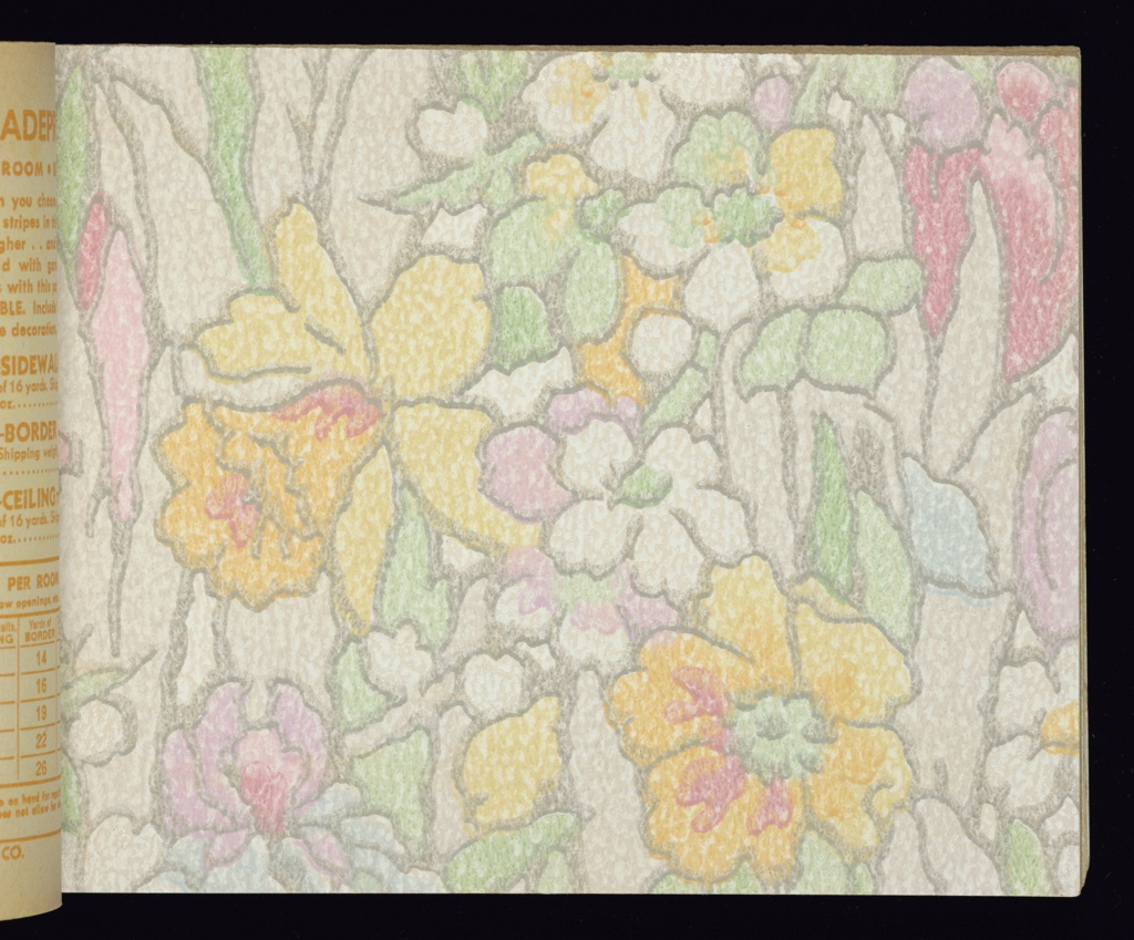 "Contains samples of traditional and contemporary design, some embossed. A selection of independent ceiling papers are also included. All papers are washable and fadeproof. ""Tulip Time"" recommended for nursery or children's room.