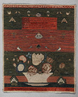 Sampler is divided into three horizontal bands; upper with alphabet, trees, flowering plants, birds and verse; second with animals, birds and baskets of fruit; third, large basket of flowers and signature. Solid embroidery, both pattern and ground.