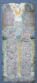 The Lord's Prayer, The Apostle's Creed, the Ten Commandments and other religious verses set in compartments formed by columns and arches with a Sun at the top.