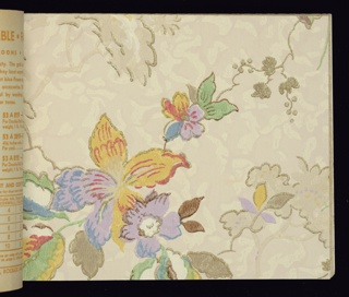 """Contains samples of traditional and contemporary design, some embossed. A selection of independent ceiling papers are also included. All papers are washable and fadeproof. """"Tulip Time"""" recommended for nursery or children's room.  70 pages of samples."""