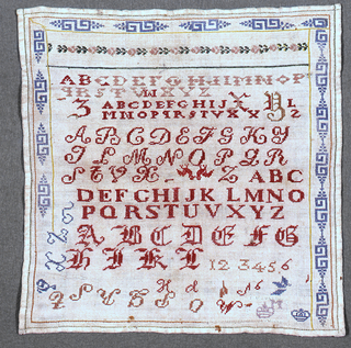 Alphabets and numerals with one cross border in rose pattern and another incomplete border in an ornamental fret.
