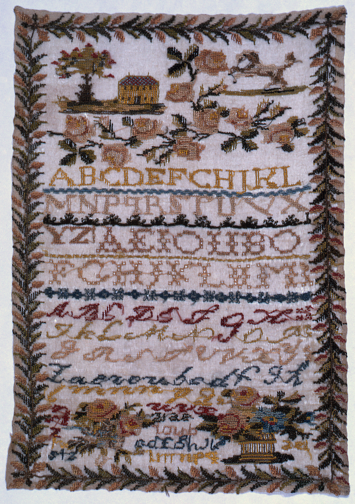 House, horse, flowers and alphabets with a floral border.