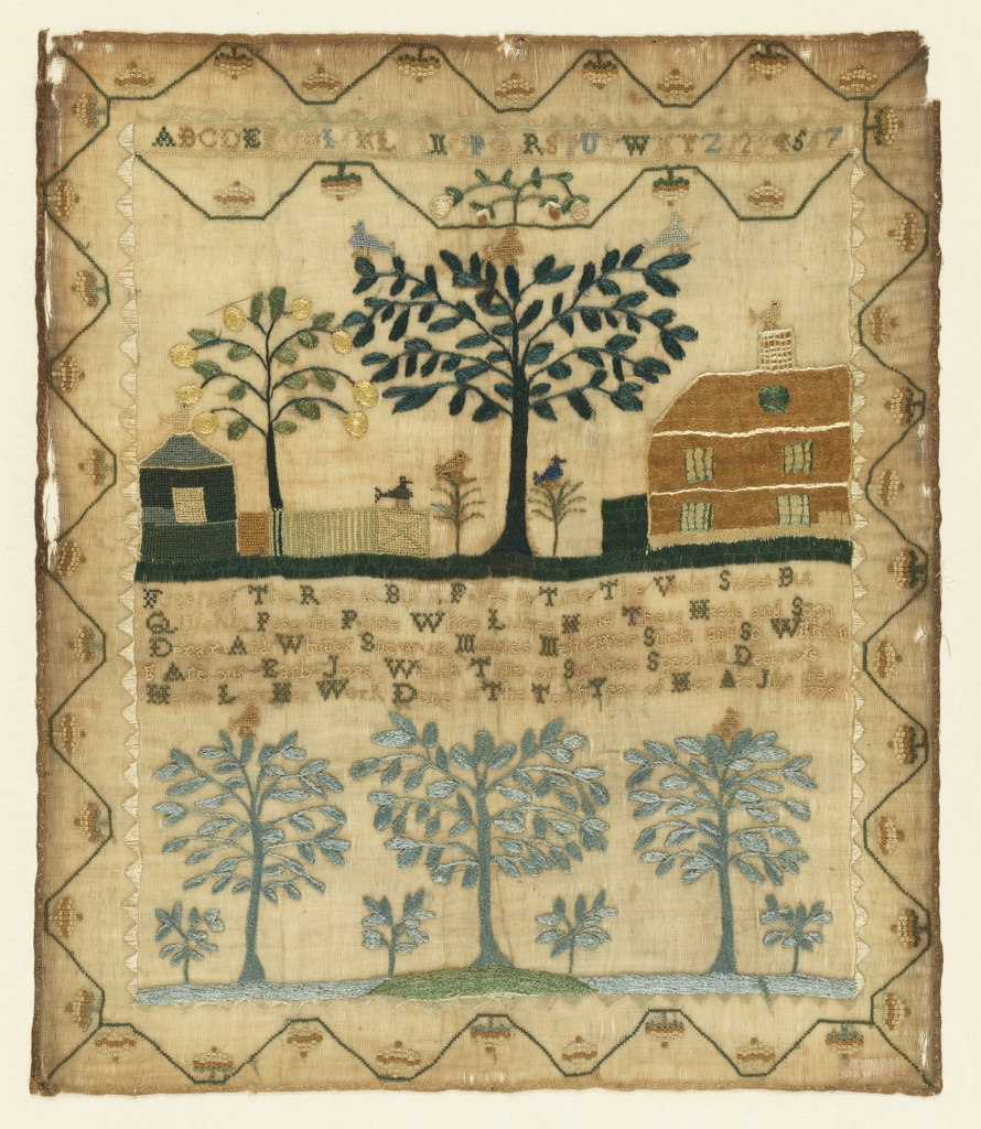 Sampler with two scenes, a verse and inscription, and a stylized acorn border on four sides. The upper scene shows a house, another small building with a fence, a large branching tree and a smaller fruit tree, with birds. A single alphabet and set of numerals at the very top. The lower register shows three green trees side by side, with smaller trees in the spaces between. The two scenes are separated by the following lines:  Fragrant the rose is but it fades in time the violet sweet but quickly past its prime while lilies hang their heads and soon decay and whither snow in minutes melt away such and so with'ring are our early joys which time or sickness speedily destroys  Hetty Lees Her Work Done in the Tenth Year of Her Age July the 17 1799
