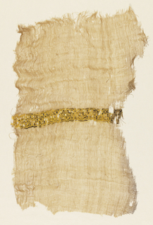 Tiraz fragment of loosely woven natural-colored linen with a band of yellow and brown silk. Possibly from the Fatamid Period.
