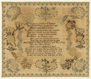 A memorial inscription enclosed in a floral wreath, embroidered primarily in yellows with green and brown. A morning glory appears in each corner, and a very narrow floral vine border frames the whole.  The inscription reads:  In memory of Mary F Baldwin  Born Sept. 9th 1824 & Died on Oct. 22nd 1836  Aged 12 years, 1 month & 13 days By Mary's hands this wreath was wrought Then very distant was the thought  Its center would so soon disclose  Her epitaph: her parents woes  She's gone her mortal pace is run Great God: Thy will not ours be done  Also in memory of James G Baldwin born Feb 10th, 1831  And died Nov'm 12th 1836 Aged 5 years 9 months & 2 days Farewell Dear Children God has call'd thee home And left thy weeping friends on Earth to Roam We trust e're long on Canaans happy shore To meet thee there to part with thee no more