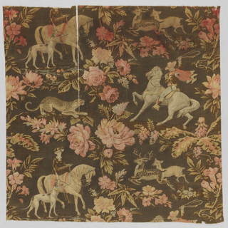 Straight repeat the full width of fabric containing on the left a woman on horseback with a dog at her side, and a crouching jaguar; on the right a man on horseback and two running deer.  These four groupings are surrounded by large-scale floral motifs. Predominantly red, pink, and ivory tones on a dark brown background.