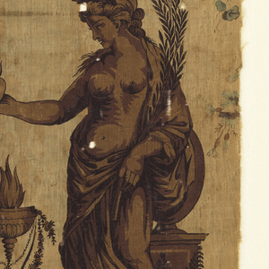 Fragment of printed fabric: this section having a group of flowers with roses predominating on the left side and a standing classical female figure on the right. The woman holds an apple (?) in her out-stretched right hand and an olive branch in her right arm. Morning glory vines tie the motifs together.