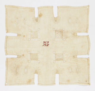 White work square with decorative hemstitching.  Four inset squares of hollie point and eight placket cuts along the edges.  In the center initials and date.