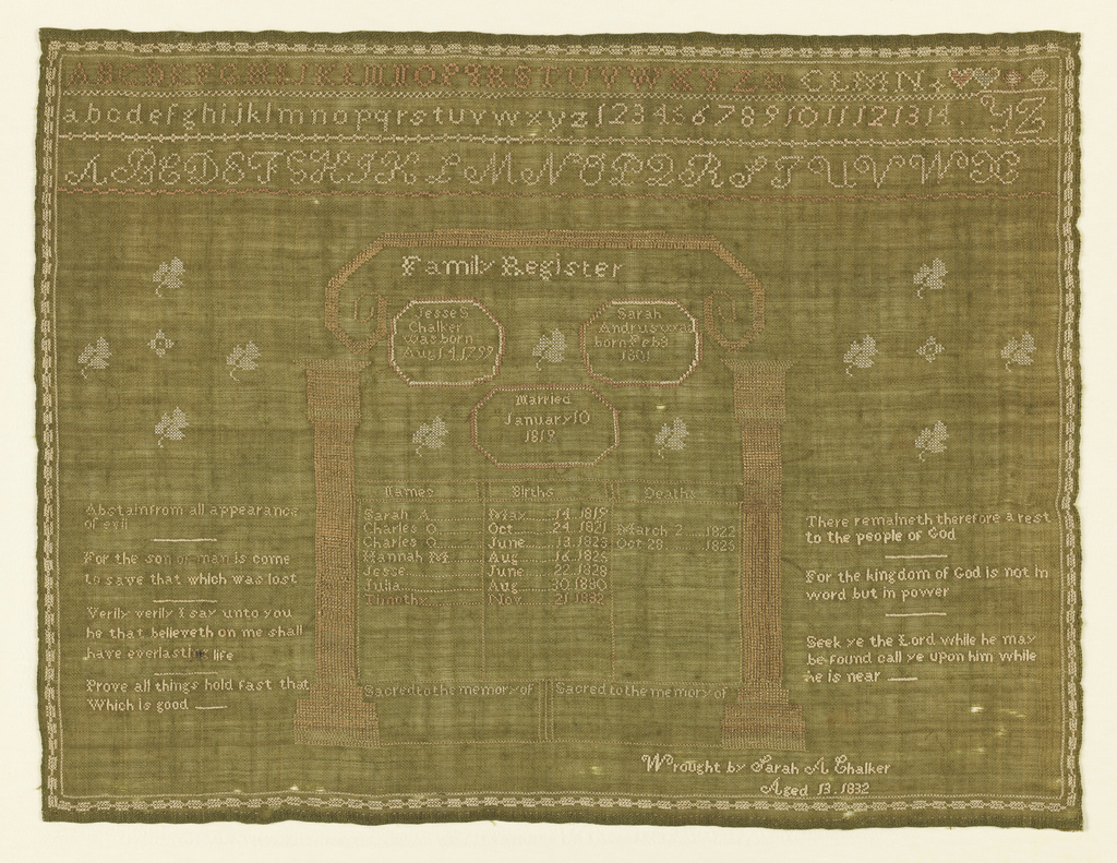 Dark ground with light embroidery. At the top, three alphabets and one set of numerals. In the center, an arched framework with an incomplete record of the names, births and deaths of the children of Jesse Chalker and Sarah Andruswae (?), married January 10, 1818. Verses fill the space on either side:   Abstain from all appearance of evil  For the son of man is to come to save that which was lost  Verily verily I say unto you he that believeth in me shall have everlasting life  Prove all things hold fast that which is good  There remaineth therefore a rest to the people of God  For the kingdom of God is not in word but in power  Seek ye the Lord while he may be found call ye upon him while he is near  With an inscription in the lower right corner.