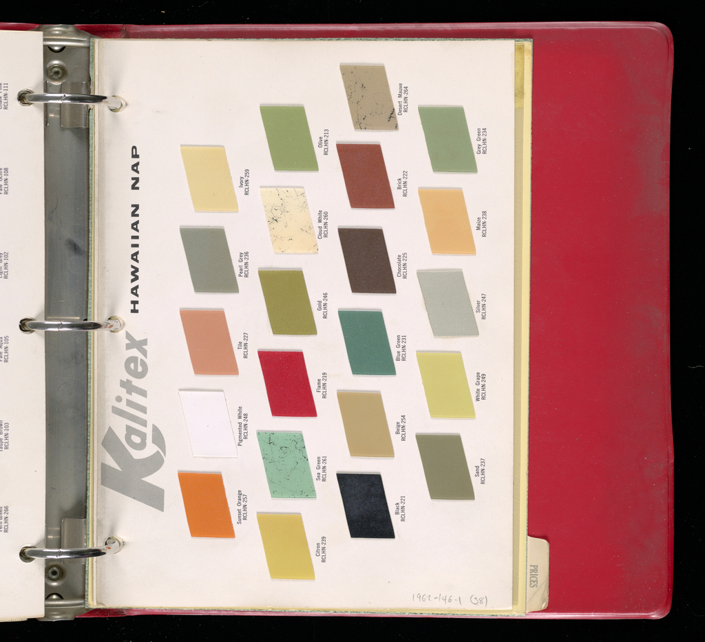 Red vinyl-covered ringbook containing wallcoverings of laminated materials under headings: Kal-Ply, Weavecraft, Vinyl, Flexwood, Tapistron, Kalwall, Kalistron, Kalitax.