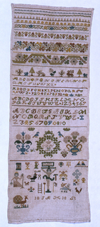 """Geometric and floral cross borders. Alphabets and numerals along with a Crucifixion, a woman, a peacock and other varying designs. Initialed """"C. D. H."""""""
