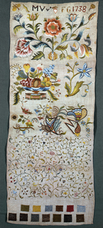 Insects and flowers arranged in cross borders above samples of stitches.