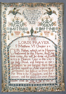 """The Lord's Prayer, baskets of flowers with birds, and signature """"Elizabeth Gouger her work in the XI year of her age 1751."""" Floral border."""