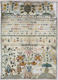 """Alphabets, crowns and verse.  Top: Cross borders with trees, flowers, insects, and fruit.  Bottom: Scene of the Flight into Egypt with motifs and signature """"Elizabeth Bolerworth, aged 15 years."""""""