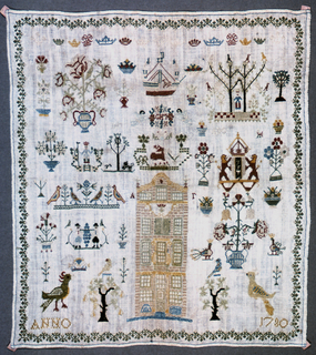 Detached motifs including the coat of arms of the city of Amsterdam, two versions of the Maid of Holland, the spies of Eshkol, a ship, birds, flowers a row of crowns and a building typical of 18th century Amsterdam architecture.