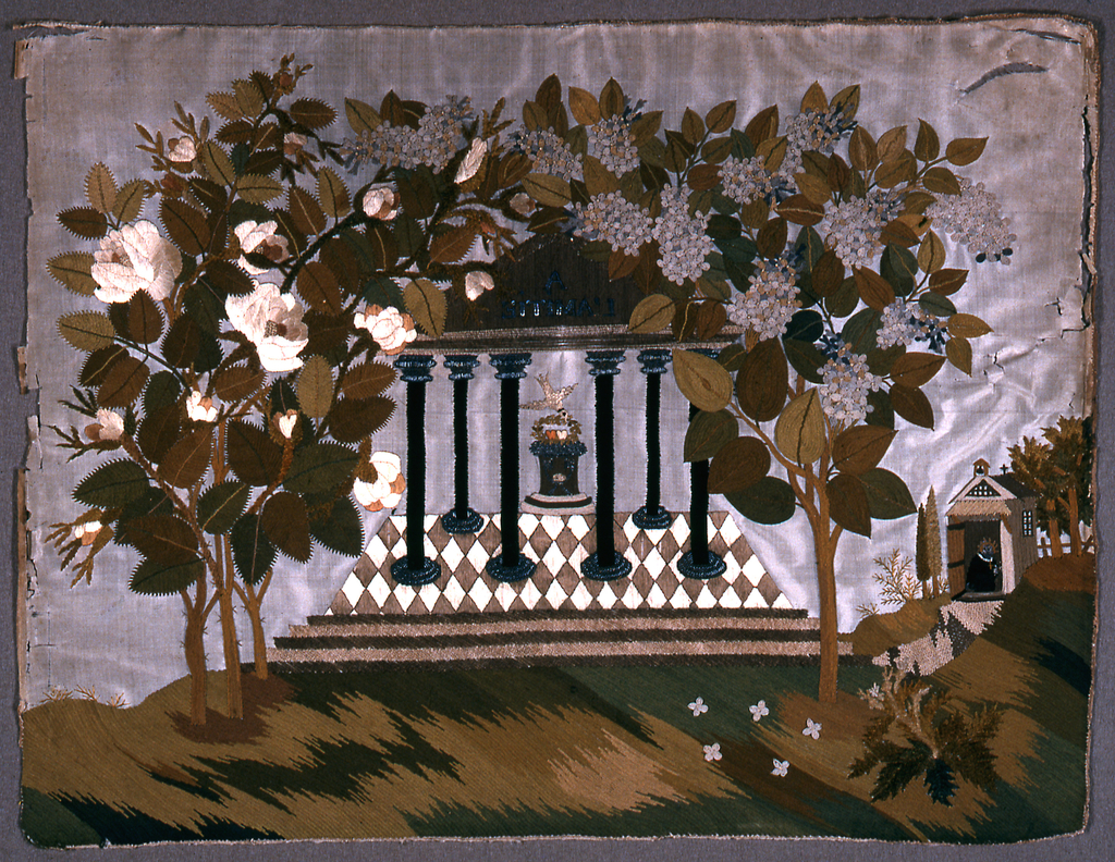 """Pavilion with inscription """"A l'amitie"""" and a bird placing a wreath on an altar.  Trees, grass, chapel and priest as borders."""