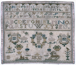 Alphabets, numerals. Sets of initials in wreaths, on shields, and under crowns. Designs of animals, birds and flowers.