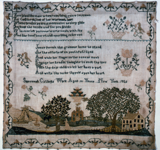Two verses with baskets of flowers, an inscription, and in the lower third, a landscape showing boats on a river, a house and a church on either bank, trees, and figures. The whole is surrounded by a strawberry vine border.  The verses read:   How blest the maid whose circleing (sic) years improve Her God the object of her warmest love Whose tender years successive as they glide The book the needle and the pen divide Who sees her parents hearts exult with joy And the fond tear stand sparkling in her eye  Jesus permit thy gracious name to stand As the efforts of an youthful hand And while her finger on the canvas move Engage her tender thoughts to seek thy love With thy dear children let her have a heart And write thy name thyself upon her heart