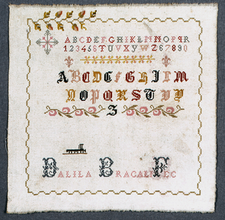 Alphabets, numbers, and signature within an unfinished floral border.