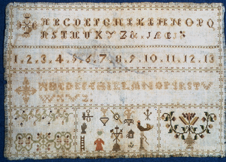 Alphabets, numerals, plant forms and symbols of the Crucifixion.
