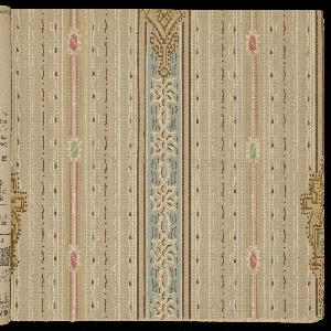 Collection of machien-printed papers with designs including tapestry papers, grapes, stripes, tile patterns, landscapes, floral, ingrain, intaglio, and varnished tile patterns.