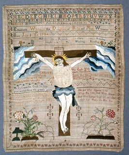 """Alphabets, numbers, verses, and the Crucifixion.  Signature: """"Elizabeth Whitmore the daugher of Rolon and Ann Whitmore was born July ye 11th 1734."""""""
