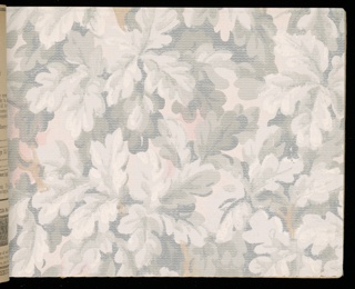 Collection of machine-printed papers with designs including tapestry papers, grapes, stripes, tile patterns, landscapes, floral, ingrain, intaglio, and varnished tile patterns.