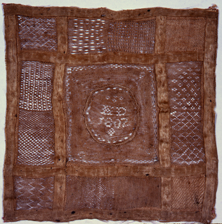 """Central square with initials """"H. D."""" and date.  Surrounded by six panels of designs in Hollie point and two in darning."""