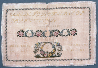 """Inscription: """"Chere maman fait par Caroline Dunn l'an 1828.""""  Alphabets, numbers, wreaths of flowers, medallions with birds, trees and flowers, all in a floral border.  Bound in pink ribbon."""