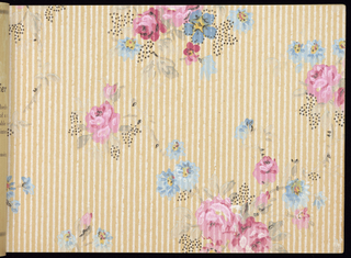 Mail order sample book featuring mostly vining floral and tapestry effects.  Some samples are embossed.  Each paper sample is shown with a black and white illustration of the full design width with its matching border.  Many of the borders are the cut out variety.  Also contains sanitary and ceiling papers.